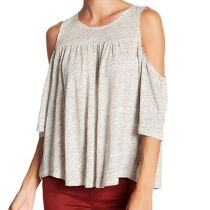 BB Dakota Grey Cold Shoulder Linen Tank Top